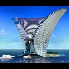 Hotel Dubai - An amazing architecture design, with a beautiful waterfront, and a yacht view on the ocean blue water. Zaha Hadid Design, Unusual Buildings, Interesting Buildings, Amazing Buildings, Architecture Unique, Futuristic Architecture, Hotel Architecture, Futuristic Houses, Conceptual Architecture