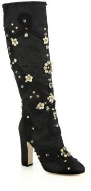 Dolce & Gabbana Jeweled & Studded Satin Knee-High Boots http://www.shopstyle.com/action/loadRetailerProductPage?id=466938584&pid=uid1209-1151453-20