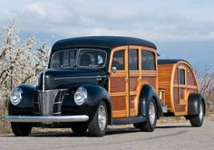 1940 Ford woody wagon with matching teardrop camper
