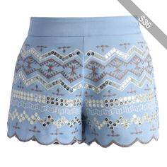 Chicwish Sequins Embellished Shorts in Baby Blue
