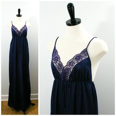 Vintage Navy Blue Nightgown Full Length Goddess by Flourisheshome #GotVintage #Vintage #Fashion