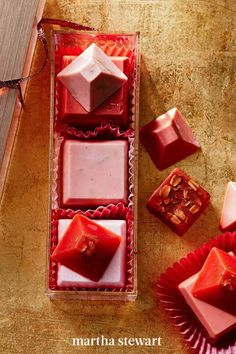 This soap-making project uses goat's milk and the melt-and-pour method to create a lovely gift. Package them in a sweet, petit-four-type of box before sharing with your recipient. #marthastewart #crafts #diyideas #easycrafts #tutorials #hobby