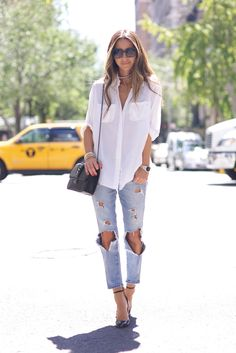 Love the contrast between the polished heels and ripped jeans