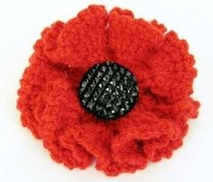 A perfect poppy to sell or wear for Remberance day . Free tutorial with pictures on how to stitch a knit or crochet flower brooch in under 30 minutes by crocheting How To posted by Sooz L. in the Yarncraft section Difficulty: Easy. Crochet Puff Flower, Crochet Flower Patterns, Knitting Patterns, Crochet Roses, Crochet Flower Tutorial, Crochet Birds, Crochet Leaves, Crochet Stars, Crochet Animals