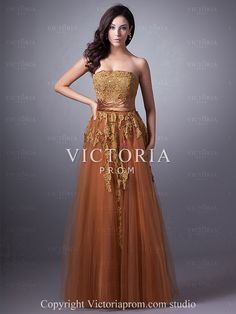 Formal Brown A-Line Floor Length Tulle Strapless Corset Prom Dress-US$127.79- StyleP1949-Victoria Prom
