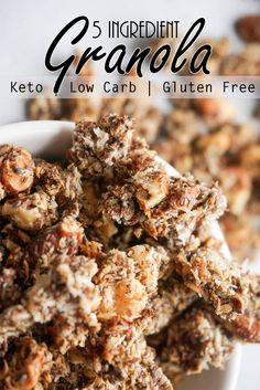 This Cinnamon Keto Granola is crunchy and flavorful, and great for on the go!