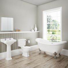 Discover the beautiful lines of our Darwin Traditional Bathroom Suite. Features a toilet, basin and gorgeous freestanding bath. Now at Victorian Plumbing. Bad Inspiration, Bathroom Inspiration, Grey Bathrooms, Modern Bathroom, White Bathroom, Country Bathrooms, Minimalist Bathroom, Beautiful Bathrooms, British Bathroom