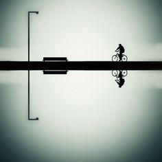 Street View Photography - Balance by YongJun Qin Claude Monet, Vincent Van Gogh, Shadow Art, Bicycle Art, Photo Colour, Light Art, Light And Shadow, Track Lighting, Illusions