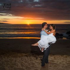 Sunset on the beach with this lovely couple on Maui, Hawaii.  @fairmontkealani Photo by www.TadCraigPhotography.com