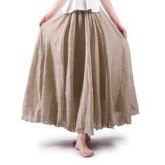 Women S Clothing Skirts Full Circle Elastic Waist Band Cotton Long Maxi Skirt Dress Off White C9189zre8 Fashion Style Y