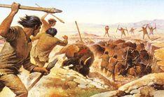 de economie van de jagers en verzamelaars. Ze jagen op bizons, vissen en allerlei andere dieren. Voor de vacht, het vlees en de botten. Hier jagen ze op bizons met speren.