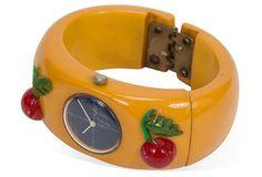 Bakelite Watch Bracelet w/ Cherries on OneKingsLane.com