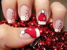 圣诞节 美甲图片 圣诞美甲 爱造型网 美甲 可爱的圣诞帽美甲~可爱~~