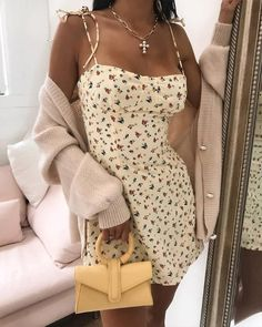 Shop Floral Square Neck Mini Dress right now, get great deals at joyshoetique Cute Casual Outfits, Girly Outfits, Casual Dresses, Green Skirt Outfits, Cowgirl Style Outfits, Simple Outfits, Trend Fashion, Fashion Outfits, Gypsy Fashion