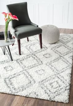 $5 Off when you share! Beyazit Easy Shag SG18 White Rug #RugsUSA