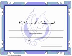 a blue printable certificate of achievement with a dove design free to download and print