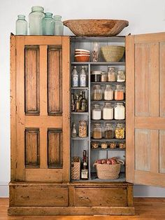 Organized wooden cabinet for extra pantry space
