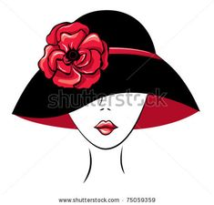 free diva clip art | Vector Silhouette of Woman in a Hat with Poppy Flower - stock vector