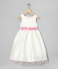 White & Petal Pink Rosette Dress - Toddler & Girls