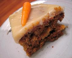 Whole Wheat Carrot Cake - It's made without refined flour or sugar, but the taste and texture are sublime: not heavy at all.  Besides that, there are plenty of carrots, nuts and pineapple mixed in.  Carrot cake is one of my favorites and it's even better when I can actually feel good about eating it! :-)
