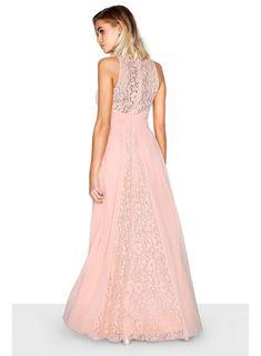 Womens **Little Mistress Pink Cross Over Lace Maxi Dress- Pink