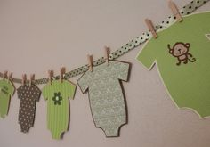 MONKEY Onesie Banner for Jungle Baby Shower - Customize Your Colors