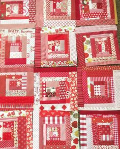 I had time for some sewing playtime yesterday = six more scrappy log cabin blocks. The more there are the better I like it.  #scrapbusterlogcabins
