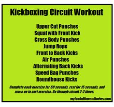 Kickboxing Circuit Workout via @MyFNFDiaries don't know the back kicks yet but this would be great for working on my form