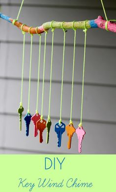 Make a wind chime out of old keys and acrylic paint. | 32 Cheap And Easy Backyard Ideas That Are BorderlineGenius