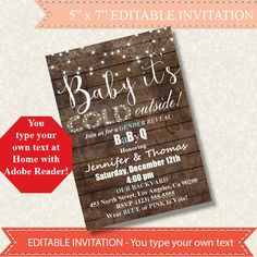 Baby it's cold outside Gender Reveal Invitation Rustic Wood design Editable Printable PDF file Instant Download A839 editable invitation digital invitation digital editable editable invite instant download Gender Reveal invite baby its cold winter invitation BaByQ invitation BBQ invitation winter party invite winter BBQ invite Christmas invite ByMiniStore 5.00 USD