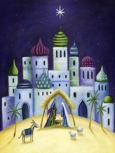 By Ileana Oakley Christmas Nativity, Christmas Art, Christmas Projects, Christmas Decorations, Christmas Drawing, Christmas Paintings, Church Banners, Mobile Art, Christmas Printables