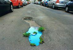 ღღ a pretty lil spot Street Art Love, Best Street Art, Street Art Graffiti, Urban Intervention, Sidewalk Chalk, City Style, Rue, Retro, Pretty Pictures