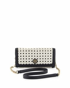 Robinson+Basketweave+Shoulder+Bag/Clutch,+White/Navy+by+Tory+Burch+at+Neiman+Marcus.