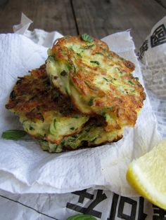 "Zucchini, mint and feta fritters from ""My Darling Lemon Thyme""."