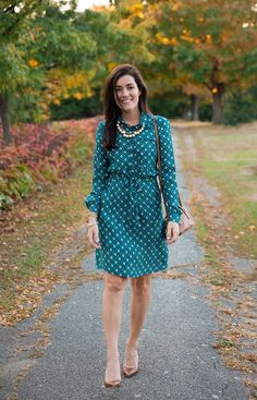 Dress: Brooks Brothers Shoes: Manolo Blahnik Bag: Tory Burch Necklace: J.Crew Bracelets: Kiel...