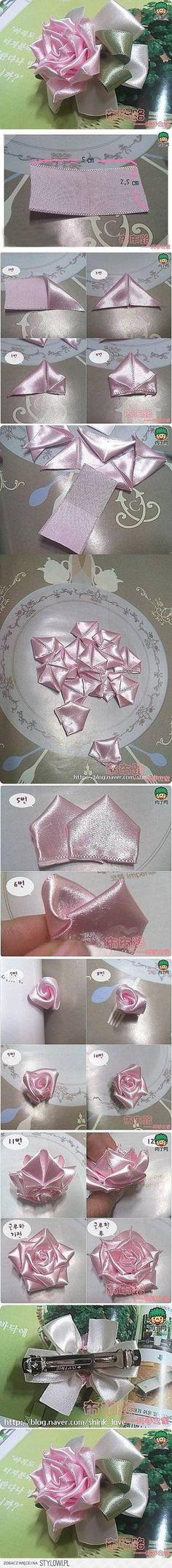 DIY Easy Satin Ribbon Rose Hairpin DIY Projects   Usefu… na Stylowi.pl