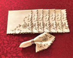 Vintage Napkins 8 Ecru With Taupe Cut Work Embroidery Eight