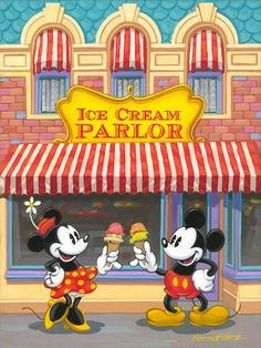 "The Magical World Of Disney: ""Ice Cream Parlor""  ,with Mickey & Minnie.... this store exists on Main Street."