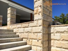 Aussietecture natural stone supplier has a unique range natural stone products for walling, flooring & landscaping. Sandstone Cladding, Natural Stone Cladding, Natural Stone Wall, Natural Stones, Sandstone Fireplace, Sandstone Wall, Sandstone Paving, Architects Sydney, Stone Supplier