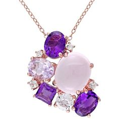 Sterling Silver Rose Quartz & Gemstone Cluster Pendant ($200) ❤ liked on Polyvore featuring jewelry, pendants, purple, purple jewelry, sterling silver gemstone pendants, rose jewelry, rose quartz jewelry and charm pendants