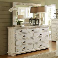 Progressive Furniture P6 Willow Drawer Dresser, Distressed White