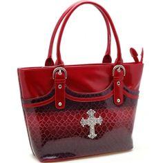 Rhinestone cross accented snake skin embossed tote bag