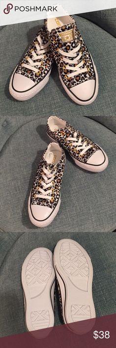 Leopard print converse. Brand new in box. Hard to find velvety leopard converse. Converse Shoes Sneakers