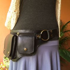 Leather Utility Belt Bag / Hip Purse / Fanny Pack / Iphone Pocket / Steampunk - HIPSTER