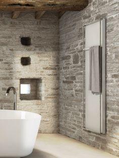 Wonderful Stone Bathroom Ideas : Wonderful Stone Bathroom With Natural Stone Wall And White Bathtub Shower Mirror And Ceramic Floor Bathroom Design Small, Modern Bathroom, Bathroom Designs, Bathroom Ideas, Industrial Bathroom, Bad Inspiration, Bathroom Inspiration, Decorative Radiators, Natural Stone Bathroom