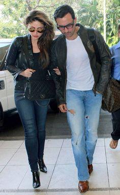 Kareena Kapoor Khan and Saif Ali Khan at Mumbai airport