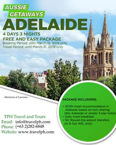 ADELAIDE FREE & EASY (Land Arrangement Only) Minimum of 2 persons to travel  For more inquiries please call: Landline: (+63 2)282-6848 Mobile: (+63) 918-238-9506 or Email us: info@travelph.com #Adelaide #Australia #TravelPH #TravelWithNoWorries Australia Travel, Tours, Easy, Free, Australia Destinations