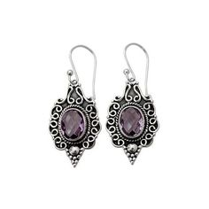 NOVICA Four Carat Amethyst Dangle Earrings in Sterling Silver ($40) ❤ liked on Polyvore featuring jewelry, earrings, dangle, purple, sterling silver earrings, dangle earrings, beaded jewelry, hook earrings and amethyst jewelry