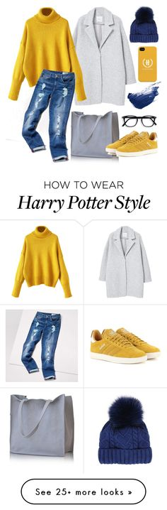"""""""Yellow and blue"""" by yutsu on Polyvore featuring MANGO, Tommy Hilfiger, Martine et Bonal, adidas Originals, By Terry, yellow, denim, Blue, sneakers and greycoat"""