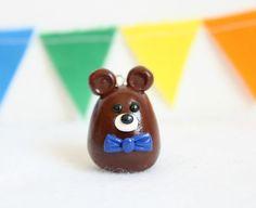 Small Bear Ornament  Polymer Clay Bear Ornament by Emariecreations, $8.50